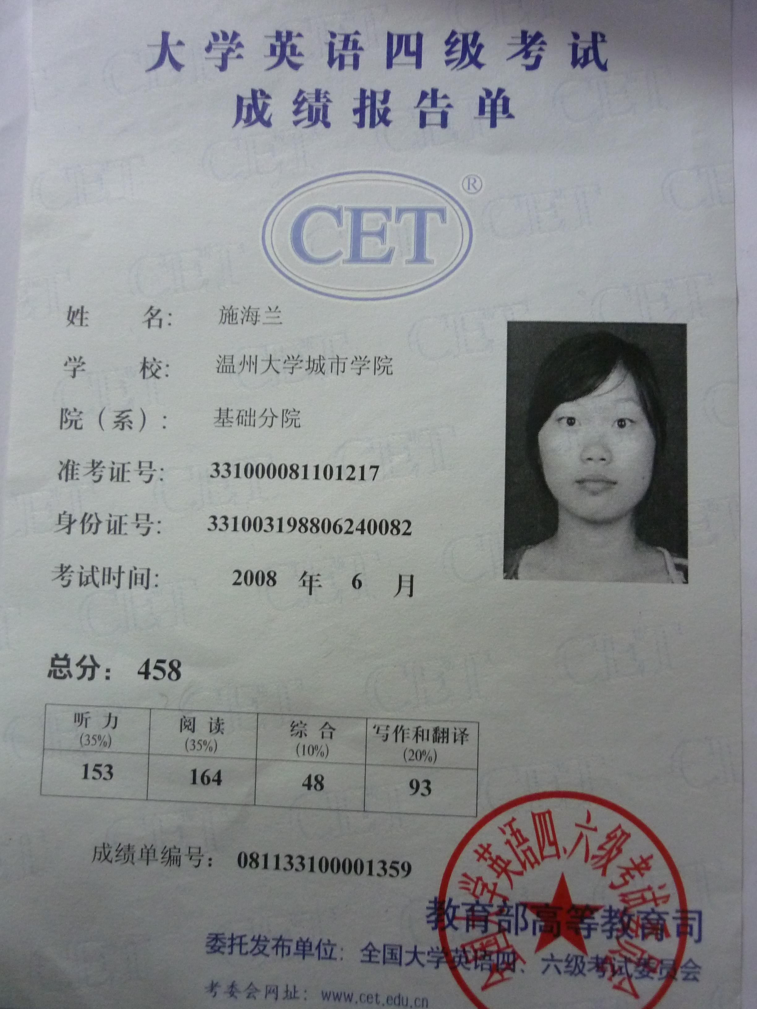 英语四六级考试证书_级证书模板英语四六级考试