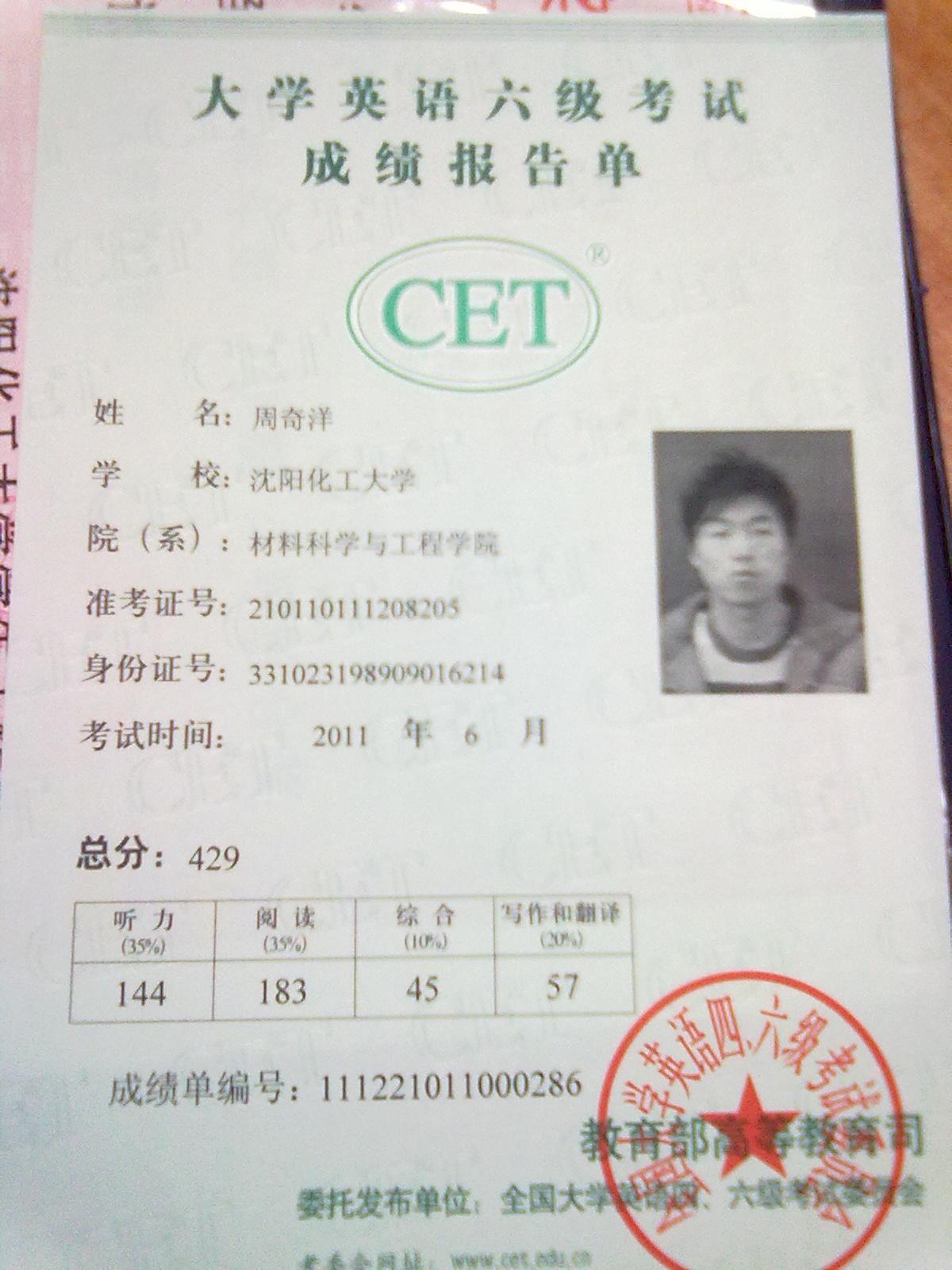 大学英语六级证书